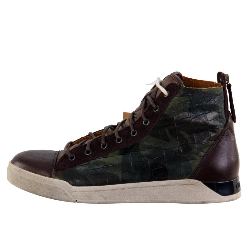 diesel herren leder high sneaker schuhe diamond camouflage green g007. Black Bedroom Furniture Sets. Home Design Ideas