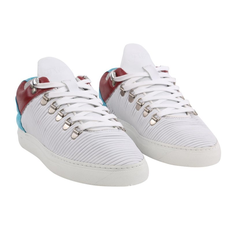FILLING PIECES Damen LOW TOP Sneaker PLISSEE Leder Schuhe White