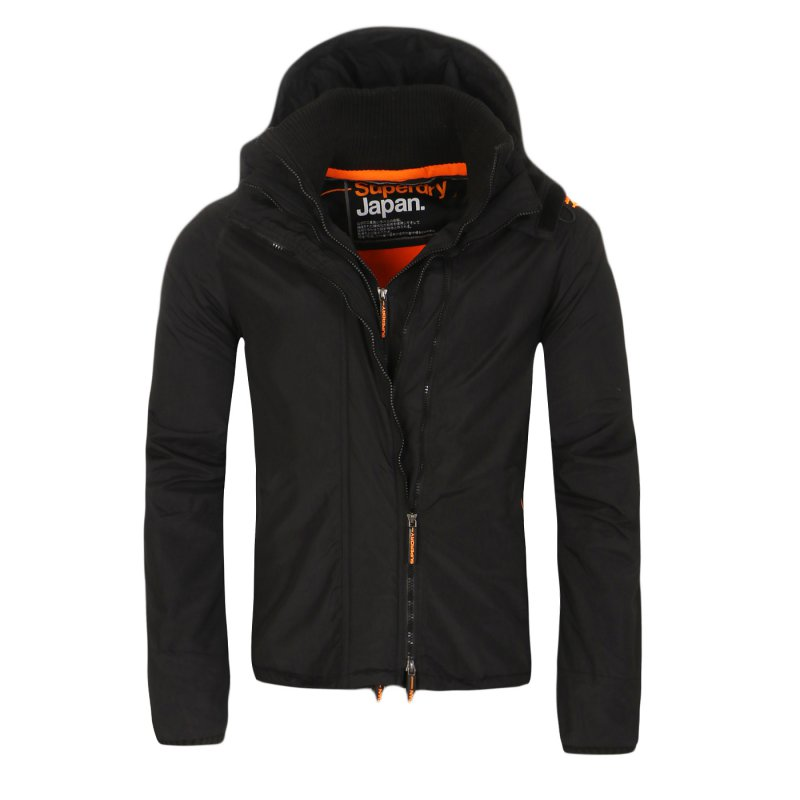 SUPERDRY Herren Windbreaker Funktions Jacke WINDCHEATER ZIP 3 Black Orange