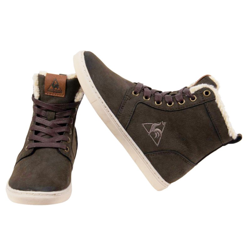LE COQ SPORTIF Kinder Jungen Leder Sneaker High Top Dark Brown 114 Größe 31