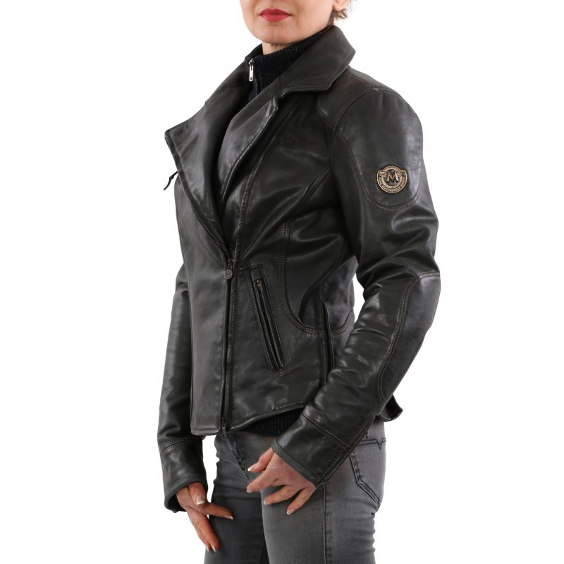 MATCHLESS Damen Biker Leder Jacke PM SOHO BLOUSON Antique Black 423102