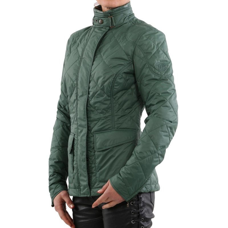 MATCHLESS Damen Übergangs Nylon Stepp Jacke CAMBRIDGE British Green 120000 Größe (42) S