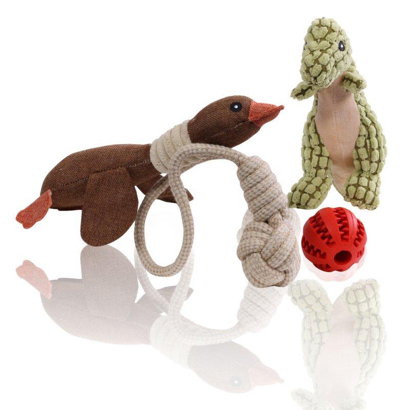 MAXX Hundespielzeug Set Spielzeug fuer Hunde quietschend aus Pluesch mit Quietscher fuer kleine und grosse Hunde plus