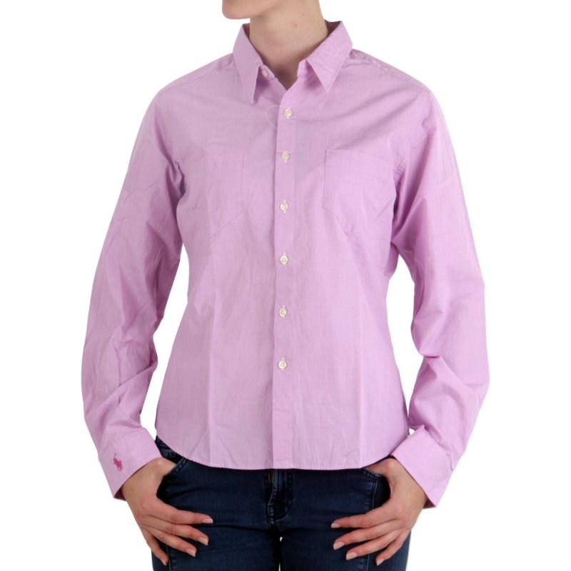 RALPH LAUREN Damen Bluse Soulette Shirt End On End Pink 5010 Größe (8) M
