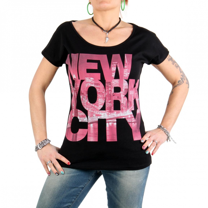 SWEET LIFE Fashion Damen T-Shirt New York City 015 Schwarz