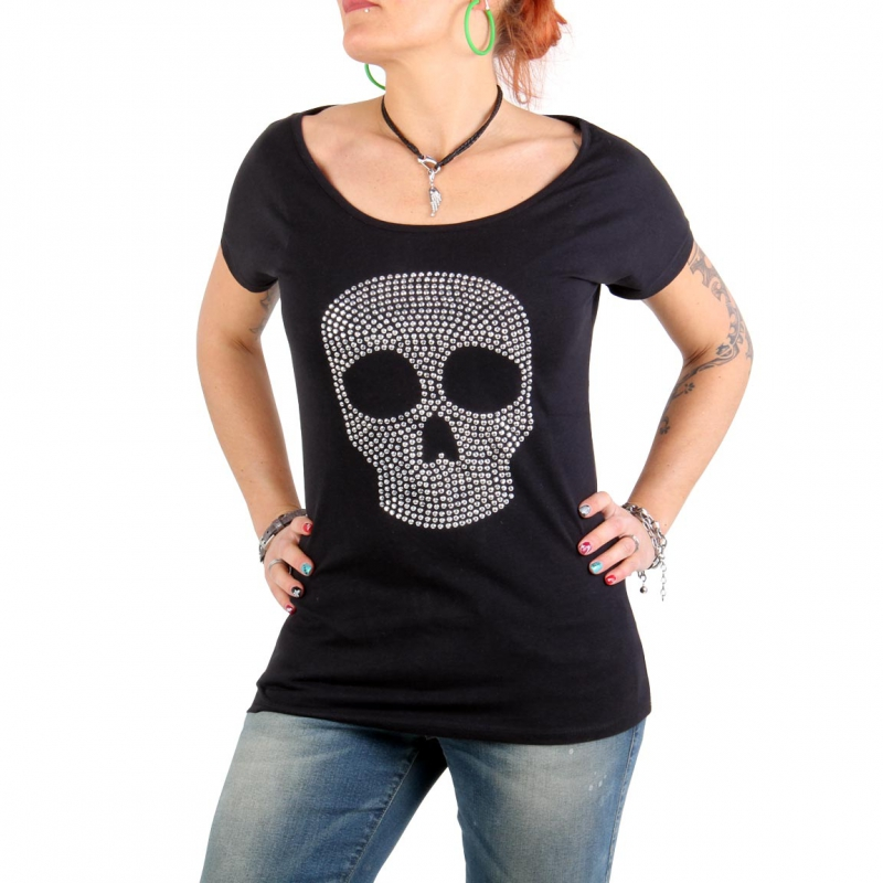 SWEET LIFE Fashion Damen T-Shirt Skull 019 Schwarz
