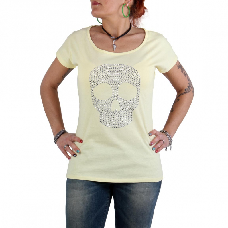 SWEET LIFE Fashion Damen T-Shirt Skull 022 Gelb