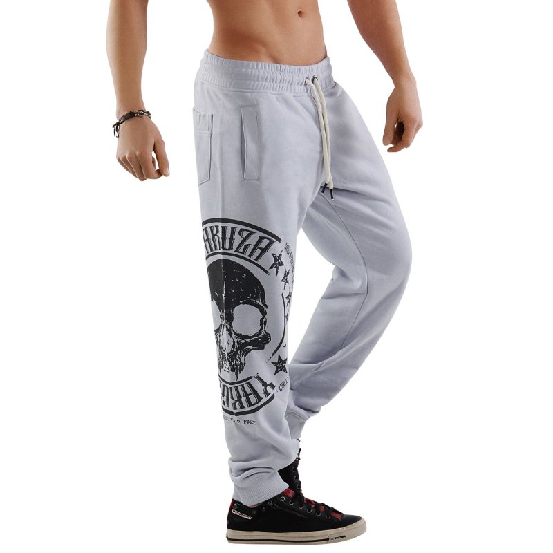 YAKUZA Herren Jogging Sweat Hose SKULL LABEL JOGGER Gray Dawn 10034 Größe XL