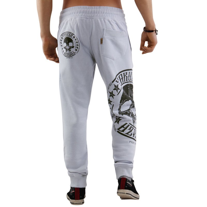 yakuza herren jogging sweat hose skull label jogger gray dawn 10034. Black Bedroom Furniture Sets. Home Design Ideas