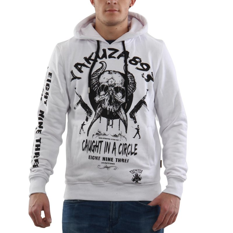 YAKUZA Herren Kapuzen Sweat Shirt Hoodie CAUGHT IN A CIRCLE White 10023