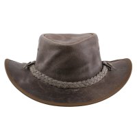 AUSTRALIA Herren Western Cowboy Leder Hut TEXAS Antique Grey