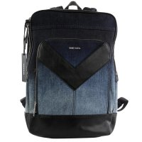 DIESEL Herren Rucksack Mr.V Zipper Denim Blue Black 2....