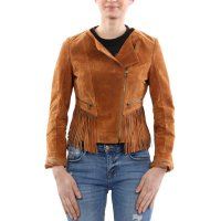 FREAKY NATION Damen Leder Fransen Jacke Brown Größe M