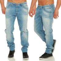 JACK & JONES Herren Slim Jeans Hose O RON FINNEGAN Light Blue 1621004