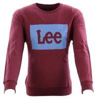 LEE JEANS Herren Sweat Pullover LOGO SWS Maroon Brown...