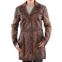 MATCHLESS Damen Limited Leder Jacke BAT TRENCH Brown 123307