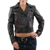 MATCHLESS Damen Übergangs Leder Jacke WILD ONE BLOUSON Antique Black 123103