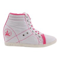 REPLAY Damen Sneaker High Canvas Wedge White Pink-Stripe...