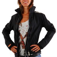 SUPERDRY Damen Sommer Funktions Jacke WINDCHEATER ZIP 2 Black White