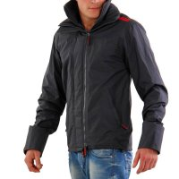 SUPERDRY Herren Sommer Jacke WINDCHEATER ZIP 2 Dark Grey Red