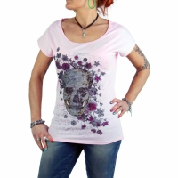 SWEET LIFE Fashion Damen T-Shirt Skull Letter 011 Pink