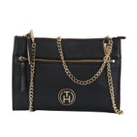 TOMMY HILFIGER Damen Leder Dinner Clutch Crossover Tasche Black 2. Wahl 1