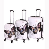 WOW Kofferset Reise Hartschalen Koffer Trolley BUTTERFLY 3 teilig White 30