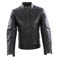 WRANGLER Herren Leder Jacke LEATHER BIKER Black W4770...
