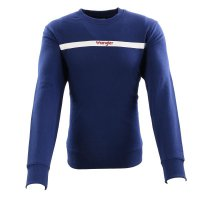WRANGLER Herren Sweat Pullover STRIPE LOGO SWEAT Blue...