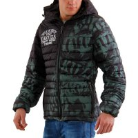 YAKUZA Herren Stepp Jacke ALLOVER LABEL QUILTED HOODED...