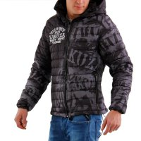 YAKUZA Herren Stepp Jacke ALLOVER LABEL QUILTED HOODED Gray 10040 2. Wahl