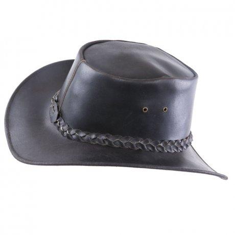 AUSTRALIA Herren Western Cowboy Glatt Leder Hut Night Brown