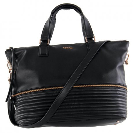 CALVIN KLEIN Damen Tasche Satchel Mid Bag Black Zip 2....