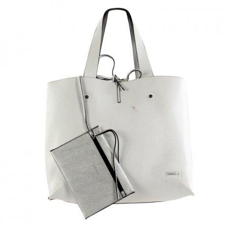 calvin klein damen tasche yoyce tote shopper silver white. Black Bedroom Furniture Sets. Home Design Ideas