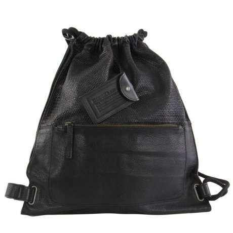 DIESEL Herren Damen Leder Beutel TO TWICE BACK Black 2....