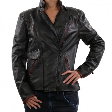 MATCHLESS Damen Biker Leder Jacke ASHFIELD Antique Black...