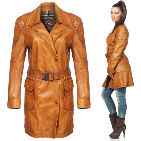 MATCHLESS Damen Leder Mantel INVERNESS TRENCH Antique...