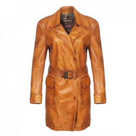123017 Inverness Cuero Matchless Trench Leder Mantel Damen Antique TK1lFJc