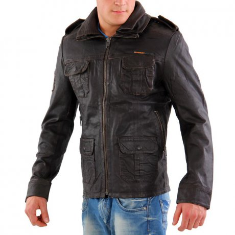 SUPERDRY Herren Leder Jacke BRAD JACKET Brown MS5DQ006F3...