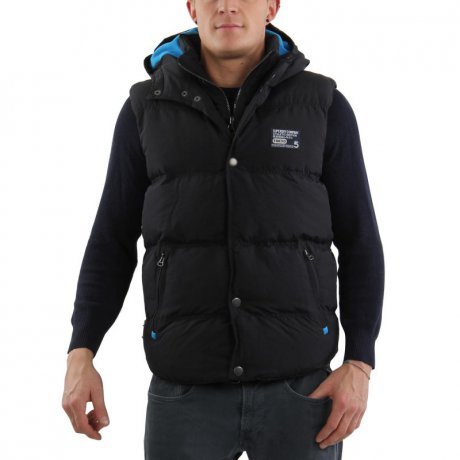 SUPERDRY Herren Winter Weste HOODED CAMPING Black Blue...