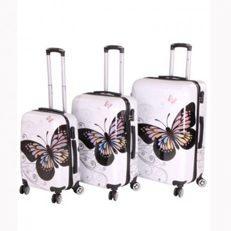 WOW Kofferset Reise Hartschalen Koffer Trolley BUTTERFLY...
