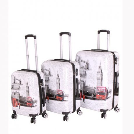 WOW Kofferset Reise Hartschalen Koffer Trolley LONDON 3...