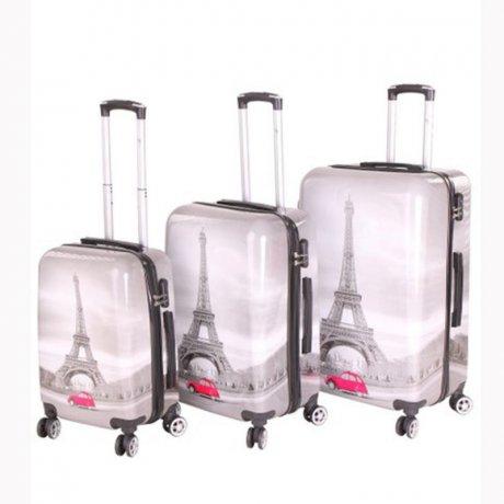 WOW Kofferset Reise Hartschalen Koffer Trolley PARIS 3...