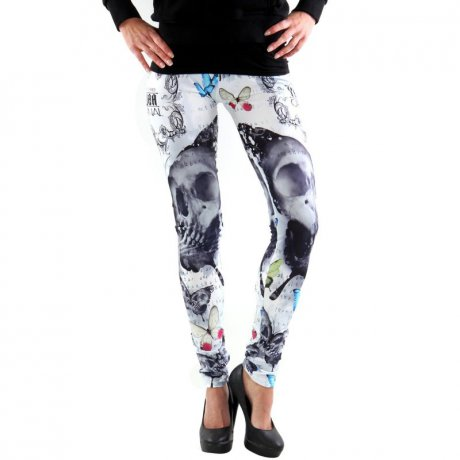 YAKUZA Damen Leggings Hose BUTTERFLY White10138