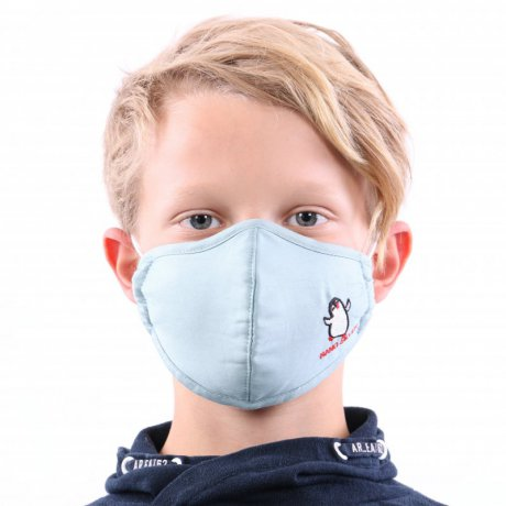 YOU`RE PROTECTED Kinder Nano Maske 3-Lagig PINGUIN Blue 2...