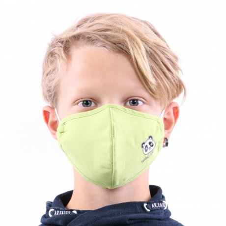 YOU`RE PROTECTED Kinder Nano Maske 3-Lagig PANDA green 2...