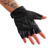 Black Forest Fox Damen Napa Leder Halbfinger Biker Reit Handschuhe Schwarz Größe XXL