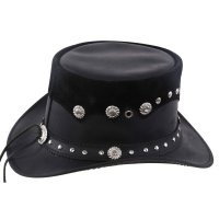 Black Forest Fox Leder Zylinder Hut Steampunk Black Nubic Reiten Fasching Karneval
