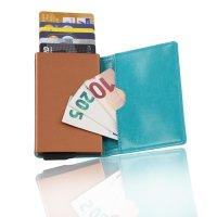 KAKKOii SMART WALLET RFID Blocking Aluminium Case Leder Geldbörse Aqua & Copper