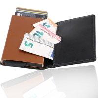 KAKKOii SMART WALLET RFID Blocking Aluminium Case Leder Geldbörse Black & Copper
